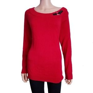 Ralph Lauren Red Tunic Sweater with Buckle 1x